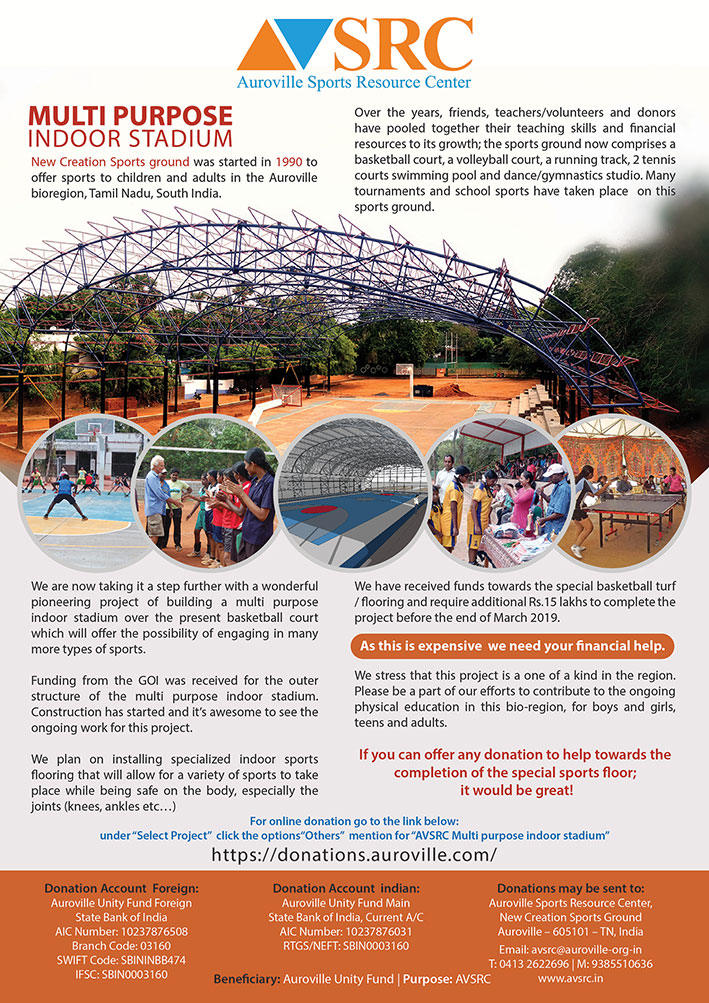 Auroville new indoor building construction and donation requrest